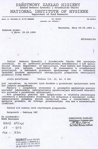 PZH NR. HŻ/04502/99 wydane 05.05.1999